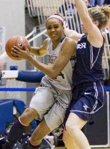 JULIA HENNRIKUS/THE HOYA Sophomore forward Faith Woodard started 26 games as a freshman and averaged 10.2 points per game, third best on the team.