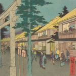"""COURTESY ARTHUR M. SACKLER GALLERY """"Famous Places of the Fifty-Three Stations: Mishima"""" is a Japanese-styled woodblock."""