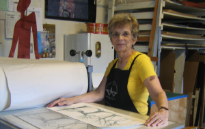 COURTESY TERRY SVAT Terry Svat combines new and old material to create her distinct, abstract print art.