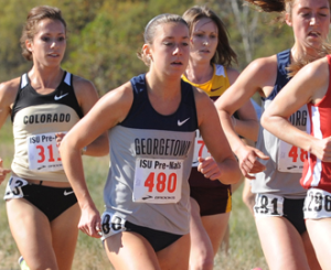 GEORGETOWN ATHLETIC MEDIA RELATIONS Senior Hannah Neczypor earned first place finishes in the 800m and one mile runs at the Father Diamond Invitational on Saturday.