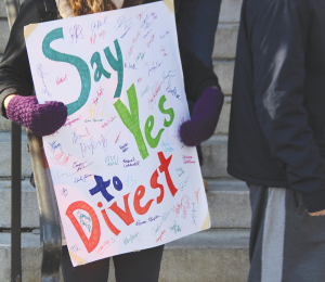 FILE PHOTO: NATASHA THOMSON/THE HOYA GU Fossil Free held multiple protests throughout the academic year.