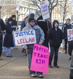 DAN GANNON/THE HOYA Area college students organized a march and rally in Mount Vernon Square to draw attention to problems faced by the transgender community, following teenager Leelah Alcorn's suicide.