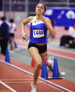 NY DAILY NEWS Sophomore Sabrina Southerland is pictured competing at an indoor track meet. Southerland was part of the team that earned second place at the 4x400m event at the Father Diamond Invitational on Jan. 10.