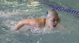 FILE PHOTO: NATE MOULTON/THE HOYA Freshman Shana McLaughlin competed in Georgetown's 200-yard freestyle relay team at the team's final regular season meet at Rutgers over the weekend. The relay team earned first place with a time of 1:40.79.