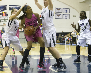 FILE PHOTO: JULIA HENNRIKUS/THE HOYA Sophomore forward Faith Woodard scored a career-high 24 points and pulled down a game-high 12 rebounds in the Hoyas' loss to Seton Hall.