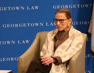 KSHITHIJ SHRINATH/THE HOYA Supreme Court Justice Ruth Bader Ginsburg reflected on her career in the annual Dean's Lecture at Georgetown University Law Center.