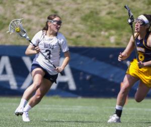 FILE PHOTO: JULIA HENNRIKUS/THE HOYA Sophomore attack Colleen Lovett scored one of Georgetown's five goals in the team's 17-5 loss to Delaware on Saturday. Lovett had 13 goals in the 18 games she played for the Hoyas last season.