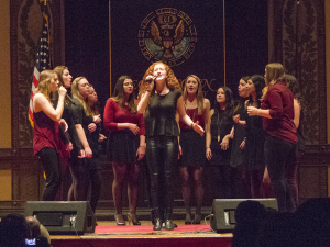 FILE PHOTO JULIA ANASTOS FOR THE HOYA The female a cappella group Gracenotes performs at Gaston Hall.