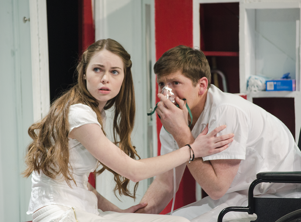 """Olivia Duff (COL '16) and Conor Ross (COL '16) in Nomadic Theatre's """"Sick"""" last January."""
