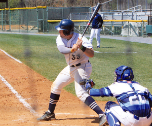 FILE PHOTO: MICHELLE XU/THE HOYA Junior catcher Nick Collins had two hits, including a crucial ninth-inning RBI single, in the Hoyas' 8-5 win over Lipscomb in the first game of a three-game series.