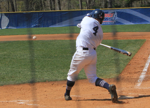 FILE PHOTO: MICHELLE XU/THE HOYA Sophomore center fielder Beau Hall drove in two runs in Georgetown's 8-7 loss to Brown in the rubber game of a three-game series. The Hoyas and Bears split the first two games of the series.