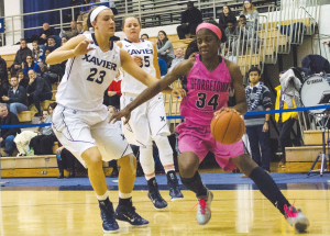 FILE PHOTO: STANLEY DAI/THE HOYA Freshman guard Dorothy Adomako followed through on preaseason expectations by earning the Big East Freshman of the Year honor. Adomako averaged 14 points in Georgetown's previous matchups with Xavier.