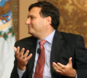 """FILE PHOTO: DANIEL SMITH/THE HOYA Adjunct professor Ron Klain, pictured in Gaston Hall in November 2013, ended his term as """"Ebola czar"""" on Feb. 13. He will return to Georgetown."""