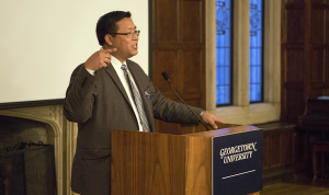 DANIEL SMITH/THE HOYA  Center for Social Justice Associate Director Ray Shiu spoke at the 30th anniversary dinner for the pre-orientation program FOCI.