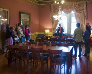 DAN GANNON/THE HOYA  The Carroll Parlor, which is located on the first floor of Healy Hall, reopened as a study space for senior undergraduates during a ceremony Thursday.
