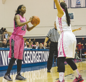 STANLEY DAI/THE HOYA Junior guard Brittany Horne averaged 13.5 points and 29.5 minutes on the floor in Georgetown's two losses to Xavier this season.