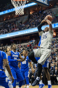 MICHELLE XU/THE HOYA Senior guard Jabril Trawick led the Hoyas on their final home game of the season, earning a career-high 19 points against Seton Hall.