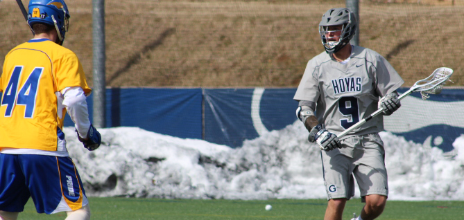 FILE PHOTO: CLAIRE SOISSON/THE HOYA Senior attack Reilly O'Connor matched his career high by scoring five goals in Georgetown's 19-7 win over conference rival Villanova. As a result of his strong performance, he was named the Big East Men's Lacrosse Offensive Player of the Week on Monday.