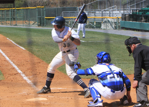 FILE PHOTO: MICHELLE XU/THE HOYA Junior catcher Nick Collins leads the Big East with 53 hits, a .531 slugging percentage, 78 total bases and five home runs. He is also second in the conference with a .361 batting average and has started all 37 games this year.