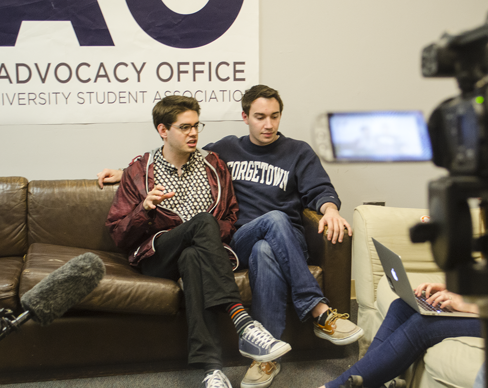 DAN GANNON/THE HOYA Joe Luther and Connor Rohan began their GUSA executive terms less than a month ago, and have since recruited a 67-person cabinet and launched a petition to encourage student involvement in the campus plan.