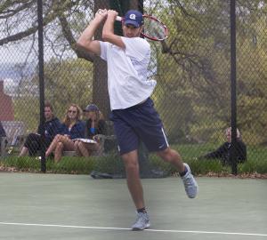 JULIA HENNRIKUS/THE HOYA Senior John Brosens won at first doubles alongside freshman Peter Beatty in an 8-6 finish in Georgetown's 6-1 loss to George Washington.