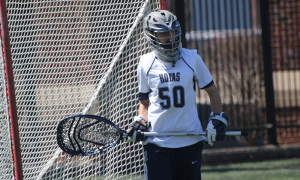 MICHELLE LUBERTO/THE HOYA Sophomore goalkeeper Maddy Fisher recorded five saves in her team's 8-4 win over Cincinnati. Fisher has started all 13 games this season and has saved 73 shots, with a save percentage of 40.3 percent.