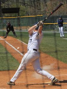 FILE PHOTO: MICHELLE XU/THE HOYA Senior first baseman AC Carter hit a two-run home run on Sunday.