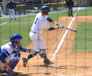 FILE PHOTO: MICHELLE XU/THE HOYA Senior shortstop Ryan Busch recorded two hits in the Hoyas' 10-4 win over Coppin State. Busch is fifth on the team with 27 hits this season, and has played in all 28 of the team's games