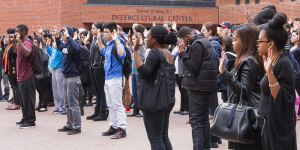FILE PHOTO: MICHELLE XU/THE HOYA A demonstration in Red Square in November marked four minutes of silence to remember Michael Brown after the decision of the Ferguson grand jury.