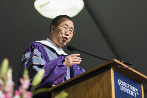 ALEXANDER BROWN/THE HOYA In his address to the SFS Class of 205, UN Secretry General Ban Ki-Moon discussed the importance of service.