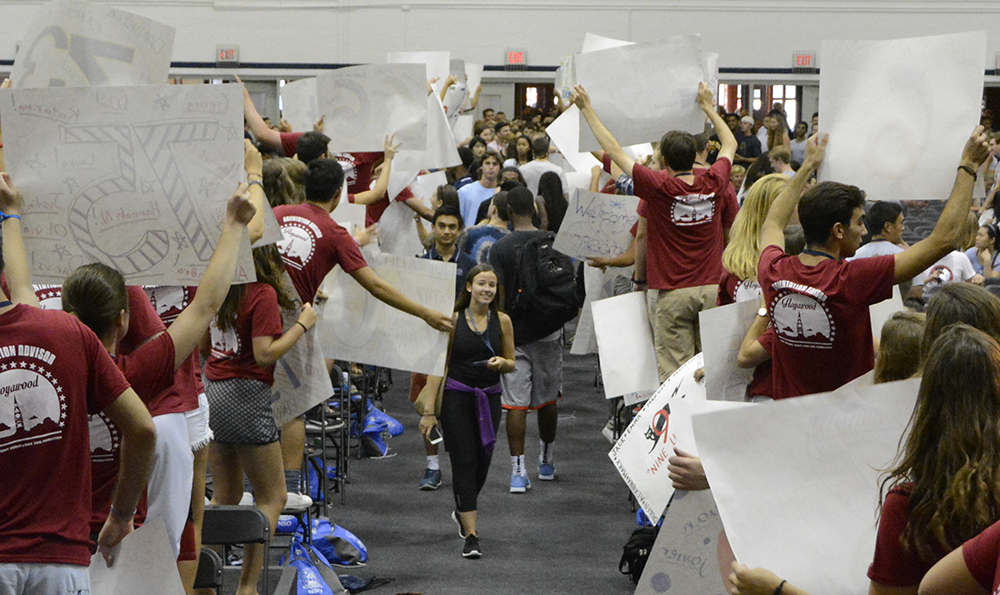 JINWOO CHONG/THE HOYA Over 200 orientation advisors, the most of all time, welcomed the Class of 2019 to campus in the McDonough Arena Saturday. Students listened to speakers and heard a rousing rendition of the fight song.