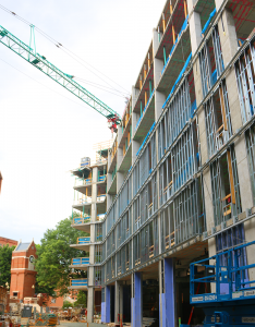 ISABEL BINAMIRA/THE HOYA The Northeast Triangle Residence Hall was topped off Sept. 5, a milestone that was celebrated by students and administrators.
