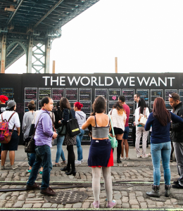 """THE WORLD WE WANT Residents and tourists in New York City signed the first """"The World We Want Wall"""" last Sept. The art installation comes to Washington, D.C. this Friday."""