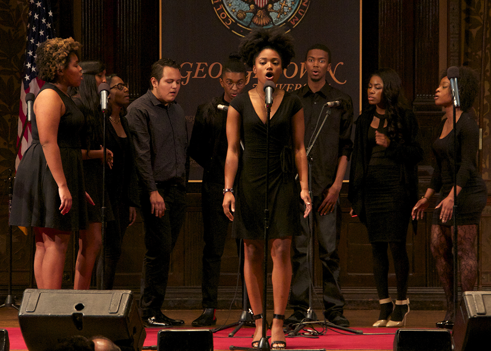 ISABEL BINAMIRA/THE HOYA  Besides performing for campus groups such as the Caribbean Culture Society and the African Society of Georgetown, R.E.L. has also brought their soulful sound to Gaston Hall.