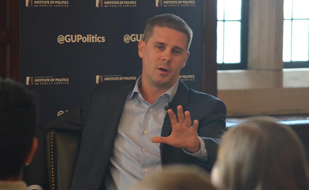 DAN GANNON/THE HOYA Dan Pfeiffer (COL '98), a former senior advisor to President Obama, spoke to students about his experience in politics.