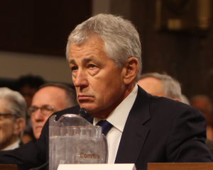 file photo: david wang/the hoya Chuck Hagel, pictured at his February 2013 confirmation hearings, left his professorial post at Georgetown to serve as secretary of defense from 2013 to 2015.