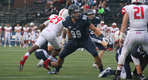 FILE PHOTO: ISABEL BINAMIRA/THE HOYA Junior defensive lineman Phil Novacki recorded five tackles, including 1.5 sacks, in Georgetown's 38-7 win over Lafayette. Novacki earned a spot on the list of Patriot League Weekly Honorable Mentions for his performance.