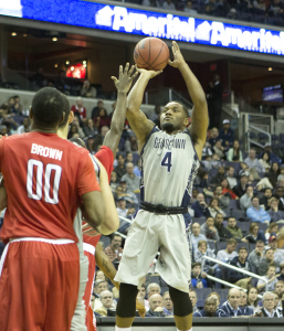 STANLEY DAI/THE HOYA Senior guard D'Vauntes Smith-Rivera, who has been Georgetown's leading scorer for the past two seasons, scored 15 points in Saturday's loss.