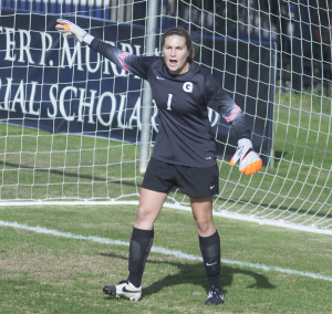 CAROLINE KENNEALLY FOR THE HOYA Graduate student goalkeeper Emma Newins has been named to an All-Big East team for four consecutive seasons at Georgetown.