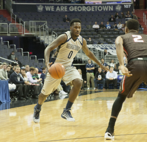 MICHELLE XU/THE HOYA Sophomore guard L.J. Peak scored 13 points in Georgetown's 74-57 win over Brown on Monday night. Peak made 5-of-9 field goal attempts, including 2-of-3 shooting from three-point range.
