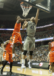 MICHELLE XU/THE HOYA  During a strong performance that caught national attention, senior center Bradley Hayes records two of his career-high 21 points.