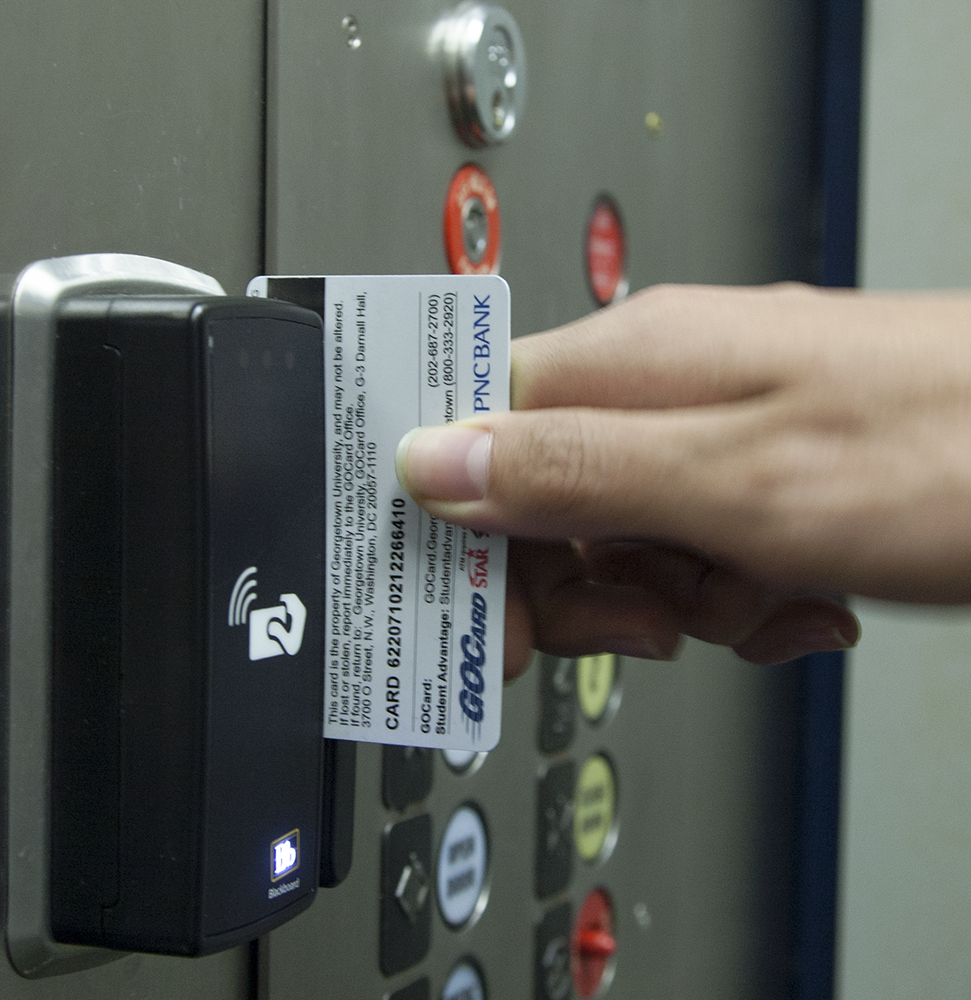 NAAZ MODAN/THE HOYA  The Office of Residential Living installed GOCard readers in the stairwells and elevators of a majority of the university's residence halls. Budget limitations prevented security upgrades in LXR, Copley and Walsh.