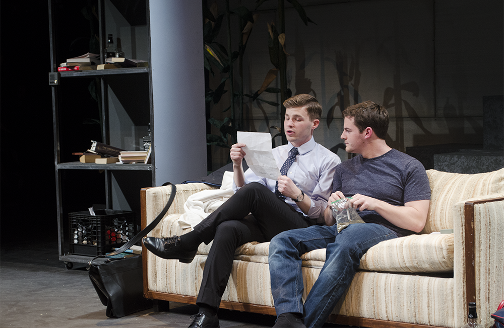 """STANLEY DAI/The Hoya In the Nomadic Theatre's new play, Andrew Walker (SFS '16), left, plays Bruto, a quirky literary agent who persuades his client Tobin Falmouth, played by Greg Keiser (COL '16), to travel to a small town to defend his controversial book, """"The Metal Children."""""""