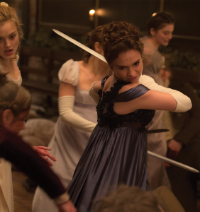 """LIONSGATE Lily James plays a reimagined Elizabeth Bennet, who becomes attracted to Mr. Darcy while the two fight against an army of zombies in 19th century England, in the film adaptation of Seth Grahame-Smith's 2009 parody of Jane Austen's """"Pride and Prejudice."""""""
