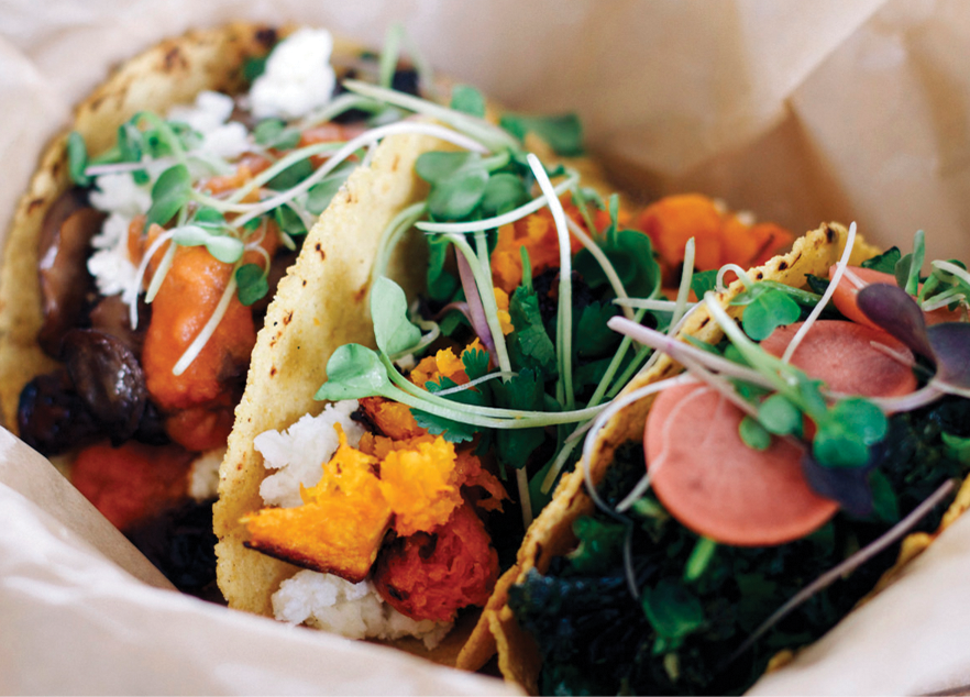 COURTESY ARIEL PASTERNAK A farm-to-table concept restaurant, Chaia Tacos uses freshly sourced, seasonal vegetables to make its vegetarian tacos, including the mushroom, creamy kale and potato tacos.