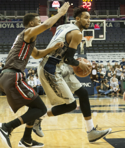 FILE PHOTO: MICHELLE XU/THE HOYA Sophomore forward Isaac Copeland is third on the team in points with 9.7 per game and second in rebounds with five per game. Copeland has scored in the double digits once in Georgetown's past seven games.