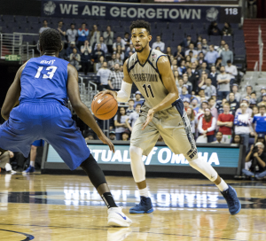 CLAIRE SOISSON/THE HOYA Sophomore forward Isaac Copeland led Georgetown with 18 points in the team's 69-61 loss to Seton Hall Saturday night. It was Copeland's second double-digit performance in the past seven games.