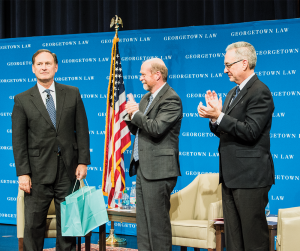 GABRIELLA MAS/THE HOYA Supreme Court Justice Samuel A. Alito, left, spoke at the Third Annual Dean's lecture to the graduating class of the Georgetown University Law Center, addressing topics from making an impact in the legal industry to the currently vacant seat on the Supreme Court.