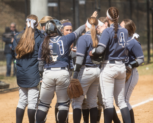 FILE PHOTO: JULIA HENNRIKUS/THE HOYA The Georgetown softball team picked up one 13-6 win over Indiana University-Purdue University  Fort Wayne and took two losses in its first spring tournament in Charleston, N.C., last weekend.