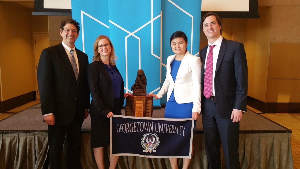 COURTESY CHARLES STEELMAN Graduate students from the masters in real estate program at the Georgetown University School of Continuing Studies, Jerry Ricciardi (GRD '16), Amanda Young (GRD '16), Azjargal Bartlett (GRD '16) and Connor Bell (GRD '16), placed first in MIT's 2016 Real Estate Case Competition in Miami, Florida on February 25.